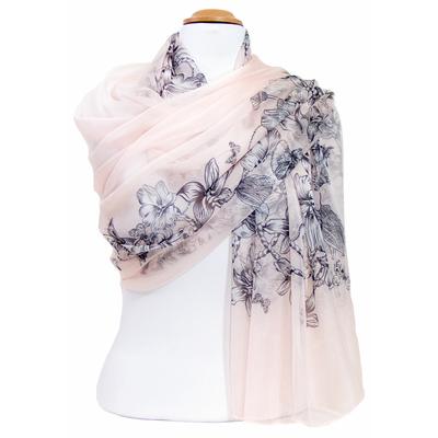 Etole mousseline de soie rose dessin fleuri