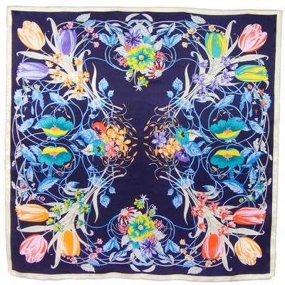 Carré de soie bleu marine tulipes 110 x 110 cm premium
