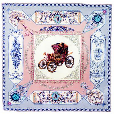 Carré de soie rose bleu Alcidie 110 x 110 cm premium