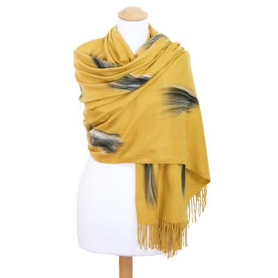 Etole jaune moutarde cachemire laine Plume