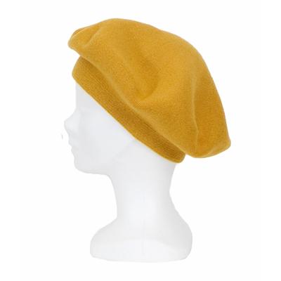 Béret jaune moutarde avec cachemire