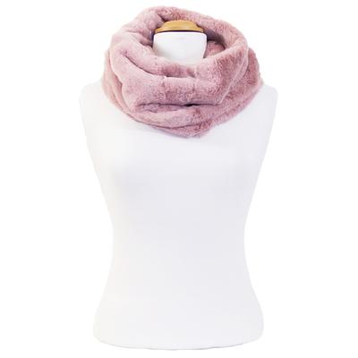 Echarpe snood rose fausse fourrure premium