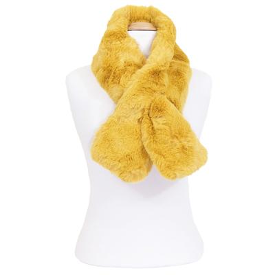 Echarpe jaune fausse fourrure premium