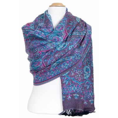 Etole pashmina violet motifs baroques