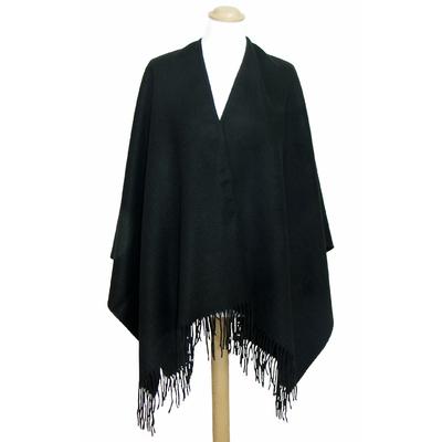 Poncho noir cachemire laine