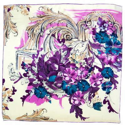 Carré de soie violet florie 110 x 110 cm premium