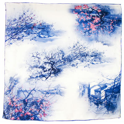 Carré de soie bleu printemps 110 x 110 cm premium