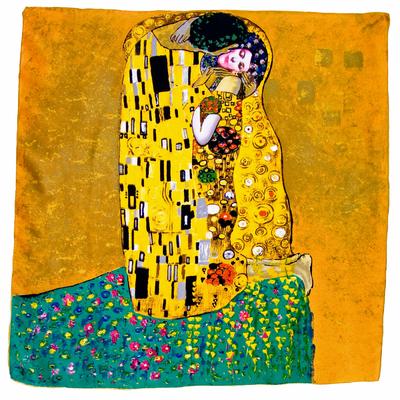 Foulard en soie carré artysilk Le baiser jaune Klimt
