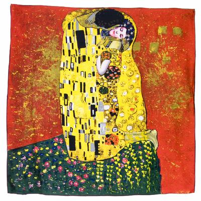 Foulard en soie carré artysilk Le baiser rouge Klimt