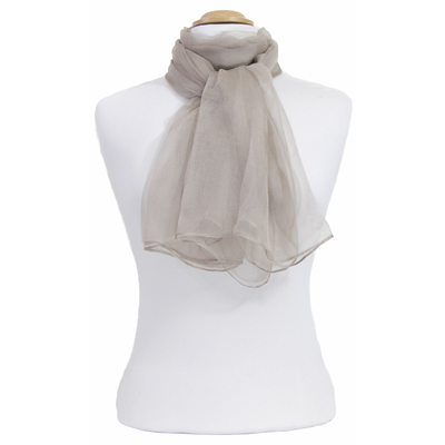 Foulard taupe clair mousseline de soie
