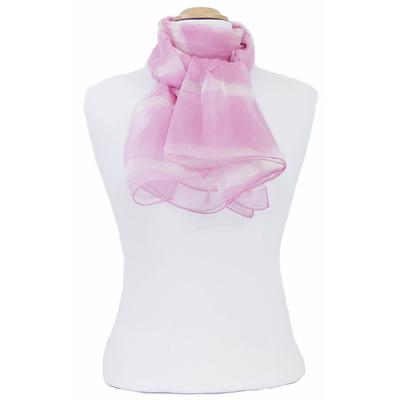 Foulard mousseline de soie rose rayures