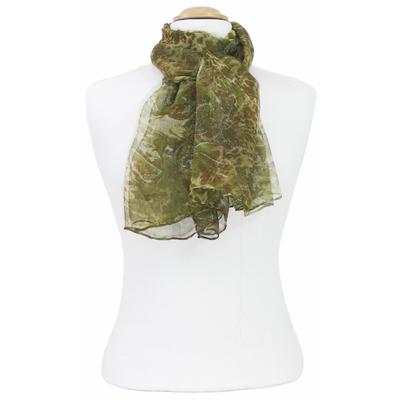 Foulard mousseline de soie vert Lorine