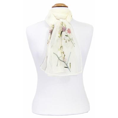 Foulard écru mousseline de soie brodé fleurs