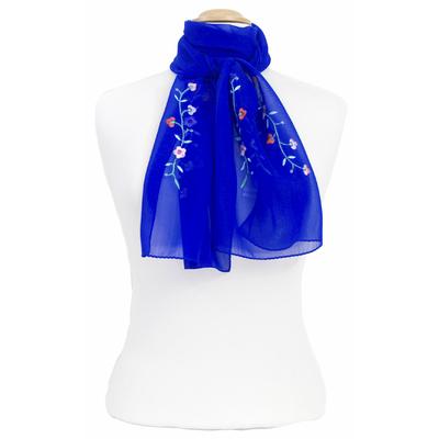 Foulard bleu roi mousseline de soie brodé fleurs