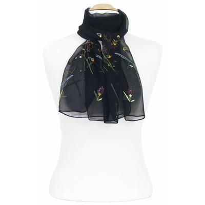 Foulard noir mousseline de soie brodé fleurs