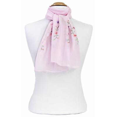 Foulard rose mousseline de soie brodé fleurs