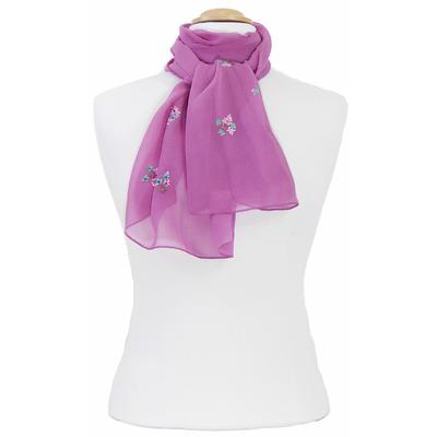 Foulard rose cyclamen mousseline de soie brodé fleurs