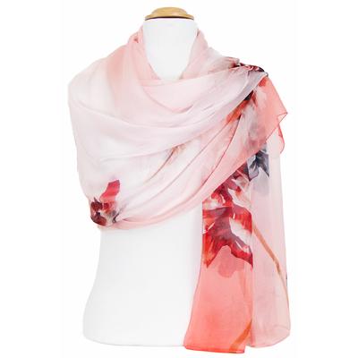 Etole mousseline de soie rose fleurs
