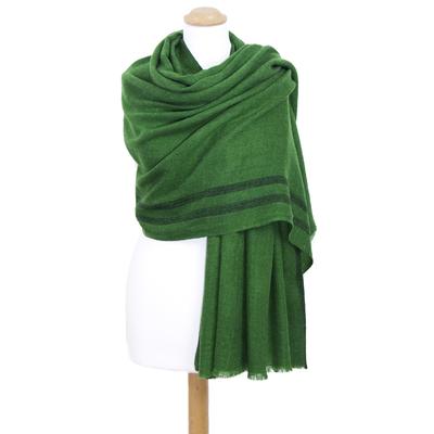 Etole laine fine vert tissée avec rayures