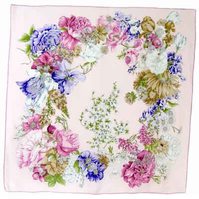 Carré de soie rose fleurs Chloé premium