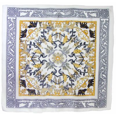 Carré foulard en soie gris animaux premium