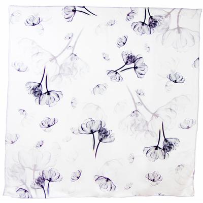 Carré foulard en soie blanc fleuri premium