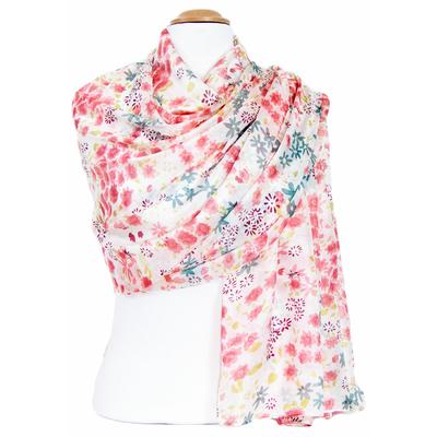 Etole en soie rose fleurs Louise