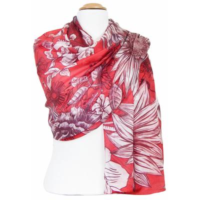 Etole en soie rouge fleurs seventies