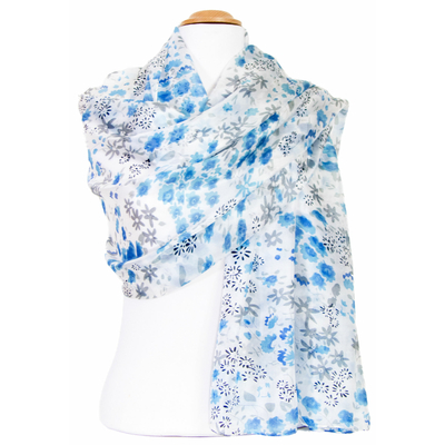 Etole en soie bleu fleurs Louise