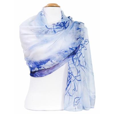 Etole mousseline de soie bleu paysage
