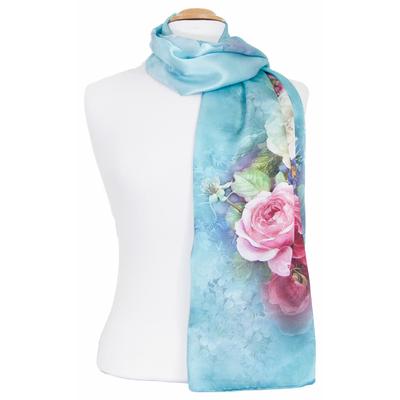 Foulard écharpe soie bleu fleuri Lise