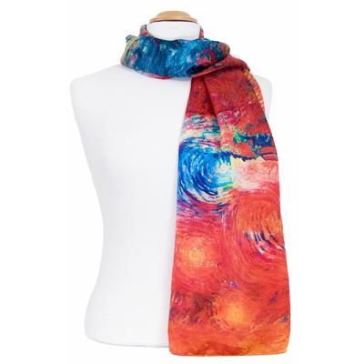 Foulard écharpe soie rouge soleils