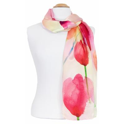 Foulard écharpe soie rose tulipes