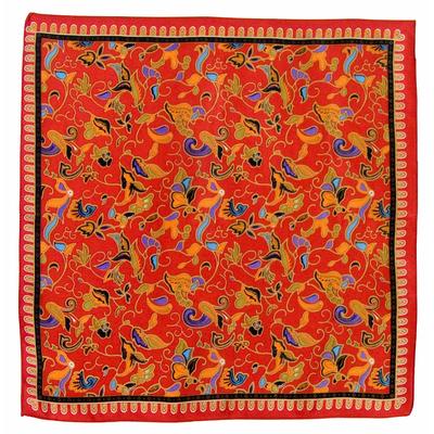 Foulard en soie carré rouge Satya 50 x 50 cm