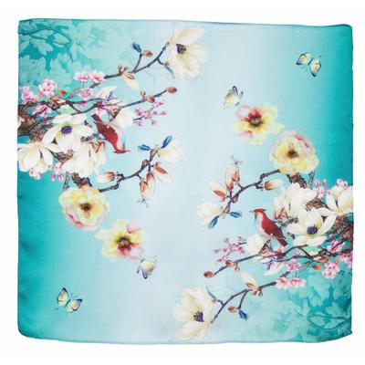 Foulard en soie carré vert cerisiers 50 x 50 cm