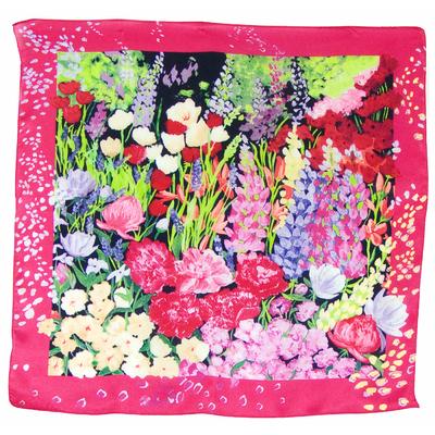 Foulard en soie carré rose spring 50 x 50 cm