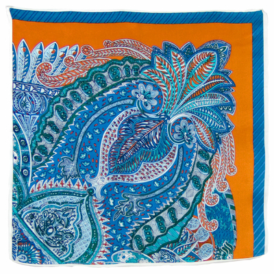 Foulard en soie carré orange Alaka 50 x 50 cm