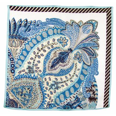 Foulard en soie carré bleu Alaka 50 x 50 cm