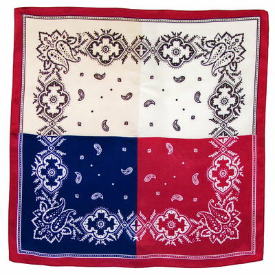 Foulard en soie carré quatre couleurs 50 x 50 cm