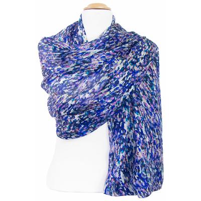 Etole soie bleu Silky