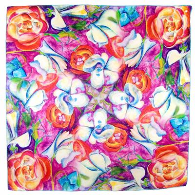 Foulard carré en soie rose hibiscus