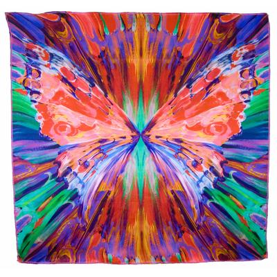 Foulard carré en soie rouge grand papillon