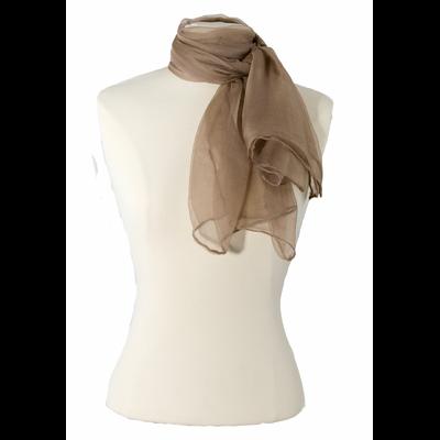 Foulard écharpe beige en mousseline de soie