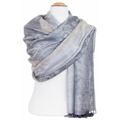 Etole pashmina gris beige rayures motifs cachemire