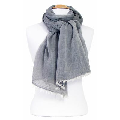Foulard gris coton froissé