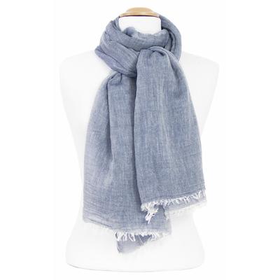 Foulard bleu gris coton froissé
