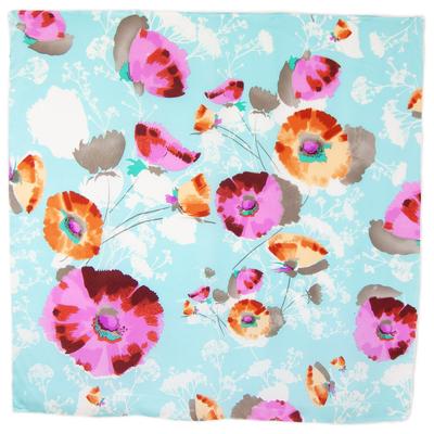 Foulard carré en soie bleu fleurs