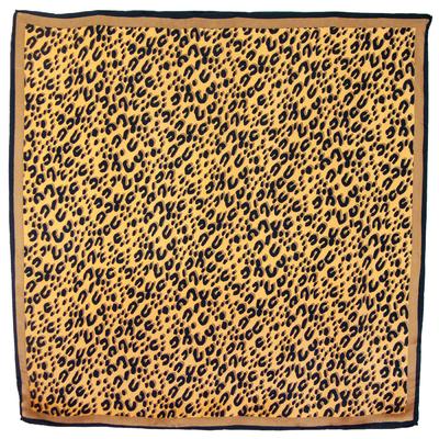 Foulard carré en soie beige doré panthère
