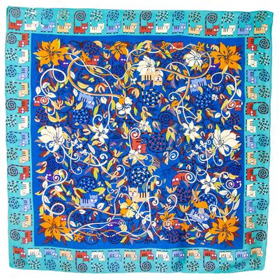 Foulard carré en soie bleu chats