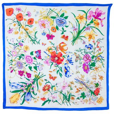Foulard carré en soie bleu bouquets